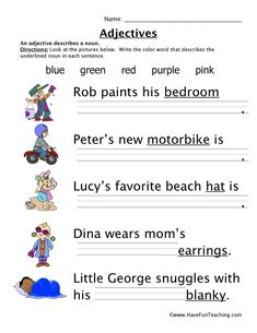 Adjectives Colors Worksheet Have Fun Teaching green color adjectives - Green Things Five Senses Worksheet, Adjective Worksheet, Verb Worksheets, Printable Worksheets, Letter Writing Worksheets, Adjectives Activities, Opposite Words, Have Fun Teaching, Teaching Ideas