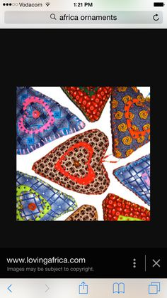 African Hearts Fabric Christmas Ornaments, Christmas Tree, African Christmas, Valentine Day Gifts, Valentines, Sewing To Sell, Heart Ornament, Recycled Crafts, Art Fair