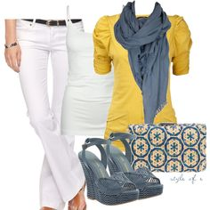 """Blue and Yellow"" by styleofe on Polyvore"