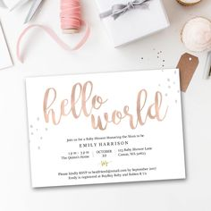 Editable baby shower invitation pdf, Hello World, Rose Gold, instant printable baby shower invite, instant download, editable, simple, print by penpenpaper on Etsy