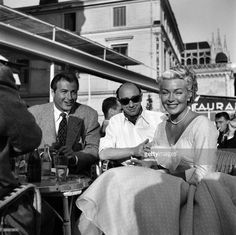 Cannes Film Festival 1953. Right Lex Barker with Donald Zec and actress Lana Turner. April 1953