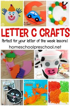 You're not going to want to miss this amazing collection of crafts to teach Letter C! They're perfect for your upcoming Letter of the Week activities! Letter C Activities, Preschool Letter Crafts, Alphabet Letter Crafts, Preschool Art Projects, Preschool Activities, Nanny Activities, Preschool Writing, Letter Tracing, Homeschool Kindergarten