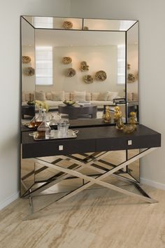 Mirror into corner for small bar set up, nice use of corner and opens up room