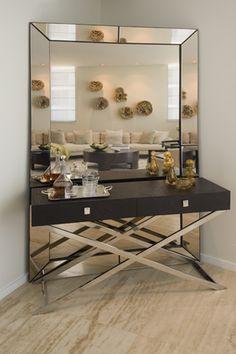 Suzie: SoJo Design - Bar vignette with beveled floor mirror, modern espresso X console table ...
