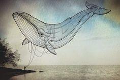 Ilustrações idílicas de criaturas do oceano voando no céu como pipas A ilustratora Giulia Pex e o fotógrafo Luca Broglia criaram estas imagens de sonho de criaturas do oceano voando no céu como pipas. Esta estranha justaposição leva essas criaturas do mar fora de seu habitat natural para criar algo novo