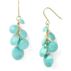 Carolee Turquoise Colored Cluster Earrings ($25) ❤ liked on Polyvore featuring jewelry, earrings, accessories, blue, jewels, turquoise earrings, cluster earrings, turquoise cluster earrings, cluster jewelry and carolee