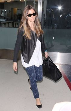 Jessica Biel arrived at LAX looking cool as ever in marbled denim, a black leather Michael Stars jacket ($348), and ballet flats. Source: WENN.com