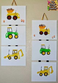 Kids dyi foot print dump trucks and tractors