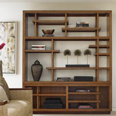 "Tommy Bahama Home Island Fusion Taipei Media 92"" Accent Shelves Bookcase"