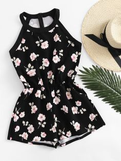 Floral Print Zip Up Back Romper Floral Print Zip Up Back Romper - Jumpsuits and Romper Teenage Outfits, Teen Fashion Outfits, Mode Outfits, Cute Fashion, Outfits For Teens, Dress Outfits, Girl Fashion, Girl Outfits, Cute Summer Outfits