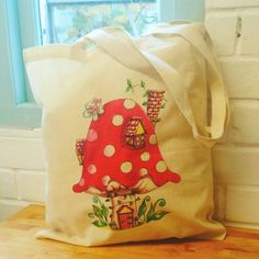 Toadstool Tote Bag. Mushroom Bag. Artist Tote Bag. Book Bag. Shopping Bag. Fairy House. Tote Bag. Eco Tote. Woodland Tote. by SueRocheIllustration on Etsy https://www.etsy.com/listing/257182139/toadstool-tote-bag-mushroom-bag-artist
