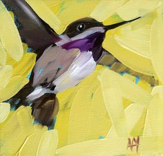 Hummingbird no. 22 art print by Angela Moulton 6 x 6 inches bird print from painting prattcreekart
