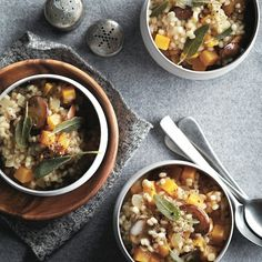 A creamy barley risotto starring colourful chunks of squash, a fine slices of earthy cremini mushrooms.