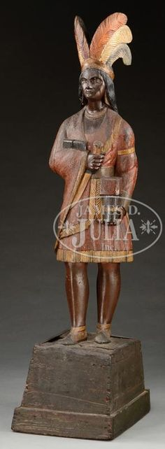 FINE CARVED TOBACCONIST FIGURE OF AN INDIAN ATTRIBUTED TO THOMAS BROOKS