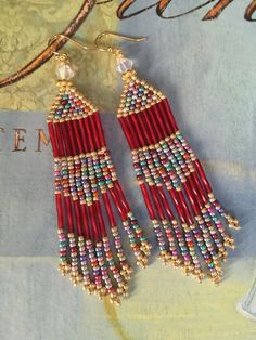 Seed Bead Fringe Earrings - Long Red and Multicolored Metallic Earrings Beadwork Jewelry by WorkofHeart on Etsy Seed Bead Jewelry, Seed Bead Earrings, Fringe Earrings, Diy Earrings, Earrings Handmade, Seed Beads, Beaded Jewelry, Metallic Earrings, Hoop Earrings