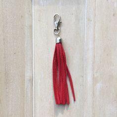 Bag chain or key chain red leather fringe tassel