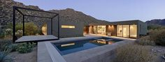 Modern Desert Homes by Erika Heet from Levin Residence. Browse inspirational photos of modern homes. Design Exterior, Modern Exterior, Patio Design, House Design, Architecture Résidentielle, Contemporary Architecture, Moderne Pools, House Viewing, Desert Homes