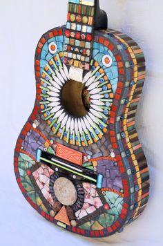 Mosaic guitar Funky Music by NikkiSullivanMosaics on Etsy, $525.00