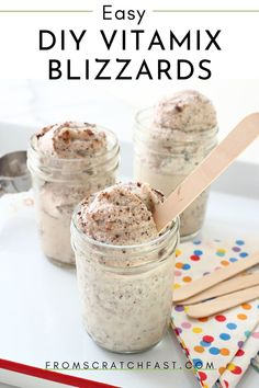 You're not going to believe how easy it is to make this lightened-up homemade Blizzard, and guess what, you don't even need an ice cream maker! The Blizzard gets made right in a Vitamix blender. It can easily be made gluten free and vegan! Vitamix Ice Cream, Vegan Ice Cream, Blender Ice Cream, Healthy Ice Cream, Vitamix Recipes, Blender Recipes, Vitamix Blender, Vegan Recipes, Easy Gluten Free Desserts