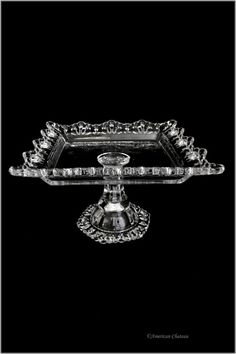 """9"""" Clear Vintage-Style Glass Square Pedestal Cake DESSERT Pastry Plate Stand"""