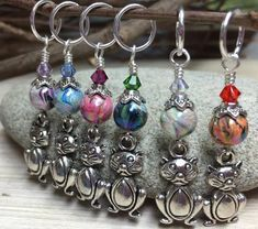 Big Belly Cats Stitch Markers- 6 Snag Free Beaded Knitting Markers- Gifts for Knitters- Tools- Supplies- Crochet Markers- Mother& Day Gift Bead Crafts, Jewelry Crafts, Knitting Projects, Knitting Patterns, Beaded Jewelry, Handmade Jewelry, Jewellery, Knitting Accessories, Beads And Wire