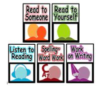 Daily 5 -Literacy Station Task Board Icons for use in Reader's Worhshop