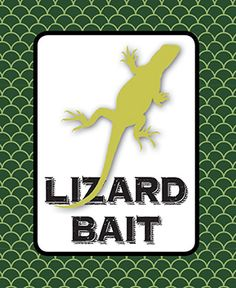 "Critter Birthday Party Snack Bar Sign - Used various color of gummy worms as the ""Lizard Bait"""