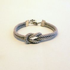 Matte fog gray forever knot nautical rope bracelet with silver anchor... ($12) ❤ liked on Polyvore