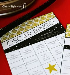 Our free printable Oscars bingo game makes watching the awards fun. Cards capturing events like wardrobe changes and fashion fails produce a winner at home! - Everyday Dishes & DIY