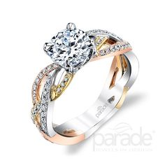 Intertwined, sparkling rows of diamonds in white, yellow and rose gold lead to a sparkling center stone. by Parade Design. Leaf Engagement Ring, Engagement Ring Styles, Designer Engagement Rings, Vintage Engagement Rings, Bridal Rings, Wedding Rings, Wedding Band, Gold Knot Ring, Bridesmaid Rings