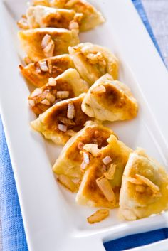 Perogies.  I made thse with sweet potatoes and butternut squash.  Skipped the vegan cheese and vegan butter.