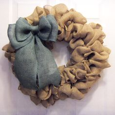Simple burlap wreath https://www.etsy.com/listing/240776081/tan-burlap-wreath-with-bow