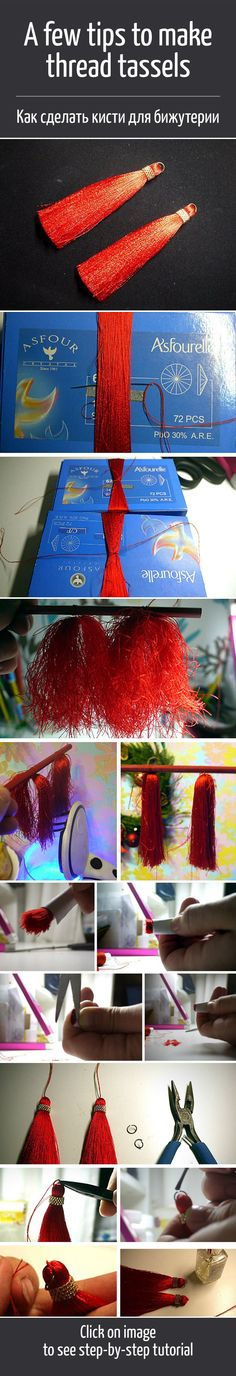 DIY Thread Tassels with Beads - The tutorial has even more photos than shown here Diy Tassel, Tassel Jewelry, Tassels, Jewelery, Thread Bangles, Thread Jewellery, Handmade Accessories, Handmade Jewelry, Small Flower Bouquet