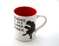 BECAUSE SHE LOVES READING Reading is my Super power mug RED Great teacher gift door LennyMud, $16.00