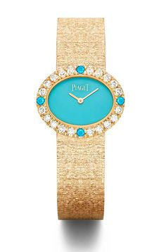 The @piagetbrand Extremely Piaget Jade has a natural turquoise dial set with 20 brilliant-cut diamonds and four natural turquoise cabochons, with a rose-gold case and a supple, gold-mesh bracelet. #piaget #watchtime #luxurywatch