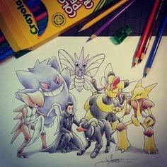 A Pokémon Coach with Gengar, Kabutops, Venomoth, Alakazam, Vespiquen and Houndoom.