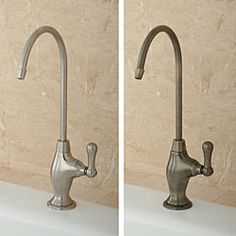 @Overstock - This kitchen water filter faucet features a solid brass construction and a ceramic valve. This filter faucet is available in multiple finishes to match to your current kitchen decor.http://www.overstock.com/Home-Garden/Single-handle-Water-Filter-Faucet/5846123/product.html?CID=214117 $46.99