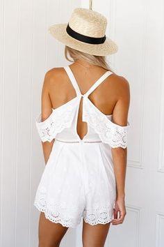 White Daisy Playsuit▶ ▷ ▶ Shop It Now ❤ Xenia Boutique xx