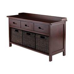 Winsome Wood 94383 Adriana 4-Piece Storage Bench Set with Corn Husk Baskets | Lowe's Canada
