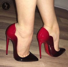 Black and red pumps and toe cleavage