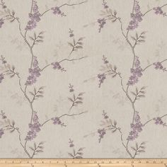 Fabricut Linen Embroidered Twill Brookdale Lilac from @fabricdotcom  This embroidered sanded twill blend fabric is medium/heavyweight and perfect for window treatments, bedding such as duvet covers, pillow shams, accent pillows and upholstery. This fabric features a soft hand and an embroidered design. Colors include lilac, mauve, aubergine and silver on a natural background.