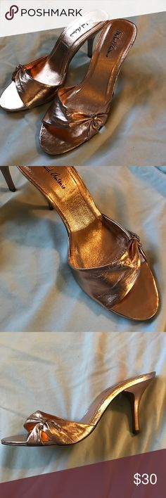 Michael Antonio Gold Heels- Size 7.5 Brand new, never worn Gold Michael Antonio Heels, Size 7.5 Original box was damaged, so shoes will come in a different box Comes from pet-free and smoke-free home! Michael Antonio Shoes Heels