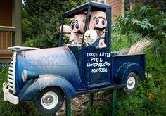 Photos of Junk art by Patrick Amiot and Brigitte Laurent on Florence ave, Sebastopol, California. Three Little Pigs, Junk Art, Fire Extinguisher, Yard Art, Florence, Wordpress, Sculptures, Photos, Gallery