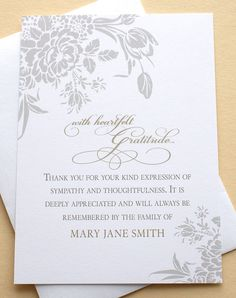 Thank You Funeral Cards with Grey Flowers - Custom - Set of 36 FLAT Cards