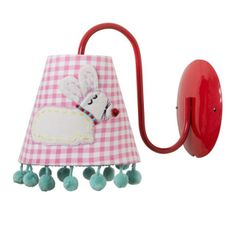 Osta Rice - Kids Wall Lamp with Rabbit Applique and Pompom Edge (LAMPW-IRAB) - Lastenhuoneet - Coolshop