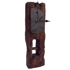 Clock - Oak & Slate Face Tall Mantel Clock
