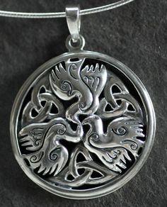Celtic Doves Peace - Large Sterling Silver Celtic Pendant By Jen Delyth - Large…