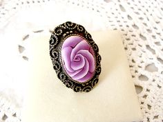 Rose Polymer Clay Adjustable Ring Antique brass by jewelryfimo, $45.00