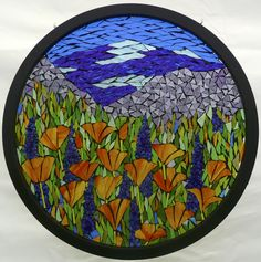 California Poppies Stained glass on glass