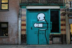 Street Art, London In one of his latest creations, graffiti artist Stik updates an older piece to depict a thief stealing the original. Graffiti Art, Monaco, Street Art London, London Art, Sisters Art, Soul Sisters, Amazing Street Art, Awesome Art, Art Uk